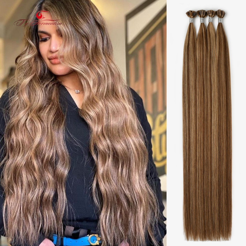 Ty.hermenlisa Flat Tip Hair Extensions In Human Hair 2021 Double Drawn Fusion Hair Factory Wholesale Keratin Extension 14-22inch