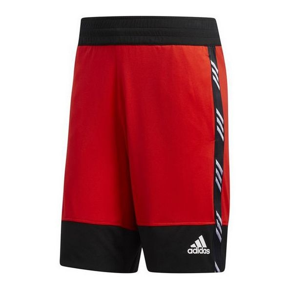 Shorts de Basquete dos homens Adidas PM Vermelho Preto Curto