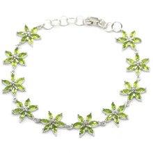 13x13mm özel 11g oluşturulan yeşil Peridot hediye bayanlar için gümüş bilezik 7.5-8.0 inç