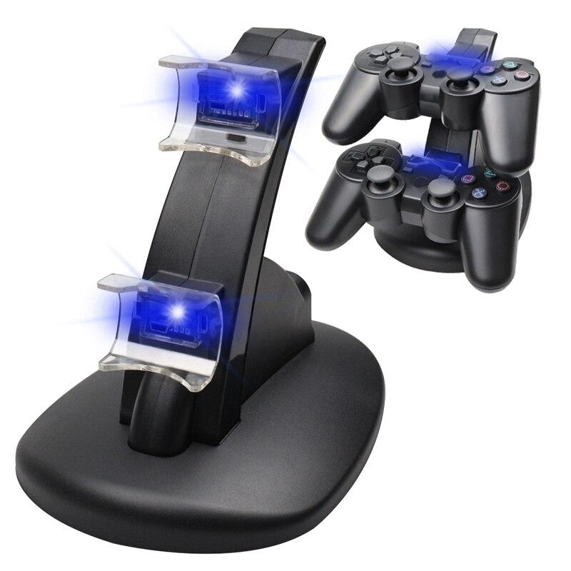 LED Licht Dual Ladung USB Ladestation Stehen Ladegerät Für PlayStation 3 Controller Konsole Für PS3 Controle Gamepad Zubehör