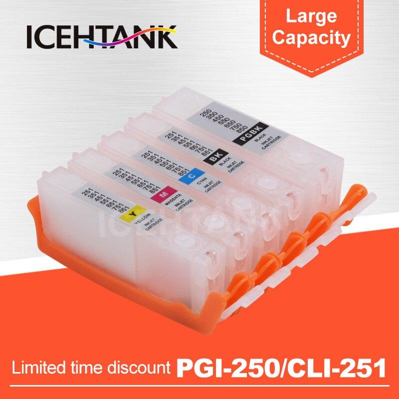 ICEHTANK PGI 250 CLI 251 cartucho de tinta rellenable para Canon PIXMA MG5420 MG5422 MG5520 MG5522 MG5620 BK blanco MG6320 impresora