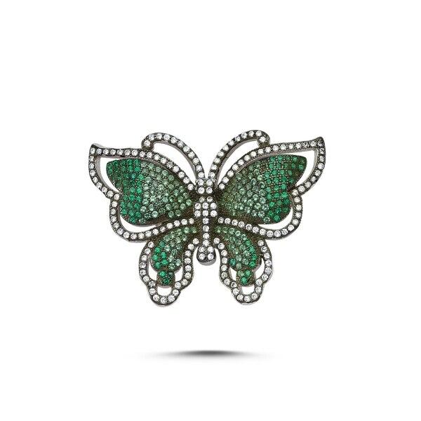 Silver 925 Sterling Zircon Butterfly Brooch