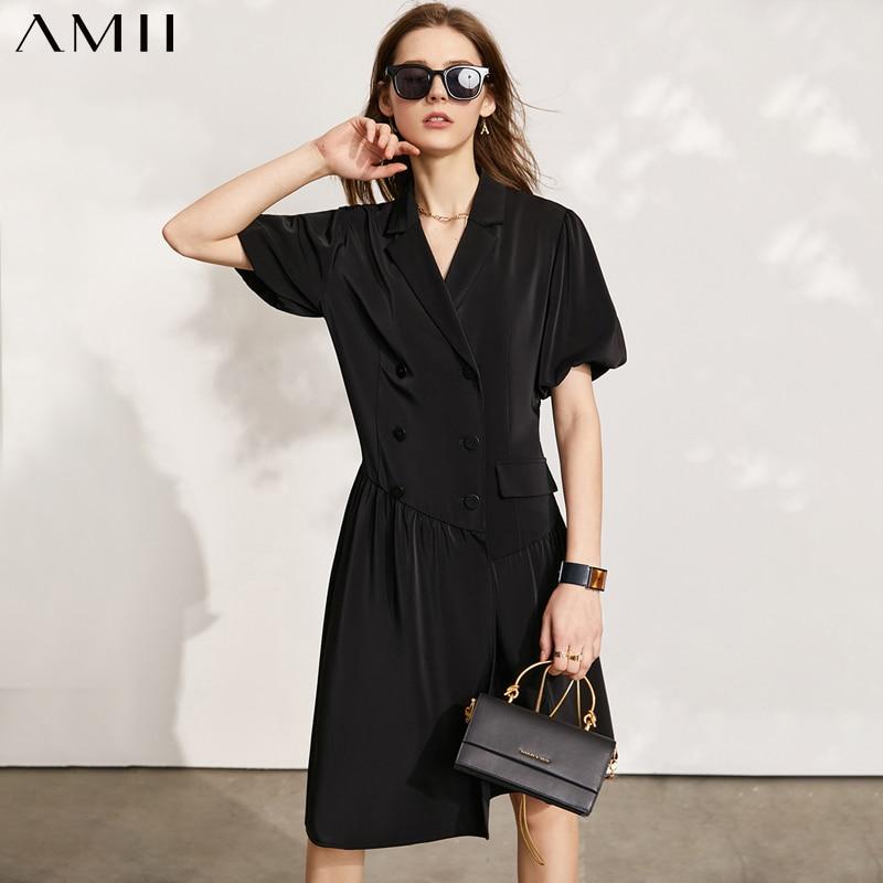 Amii-فستان نسائي بسيط من الحرير والشيفون ، بدلة غير رسمية ، لون سادة ، صيف 12130047