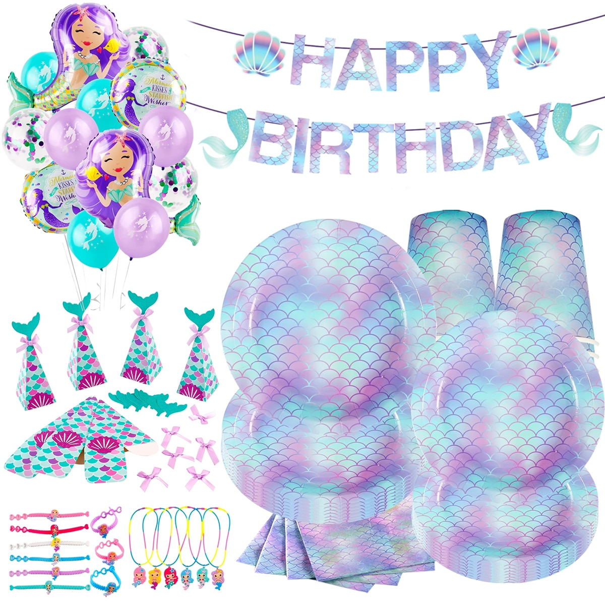Одноразовая посуда с русалочкой Wayfun, товары для дня рождения Русалочки, украшение для первого дня рождения, вечеринки для девочек