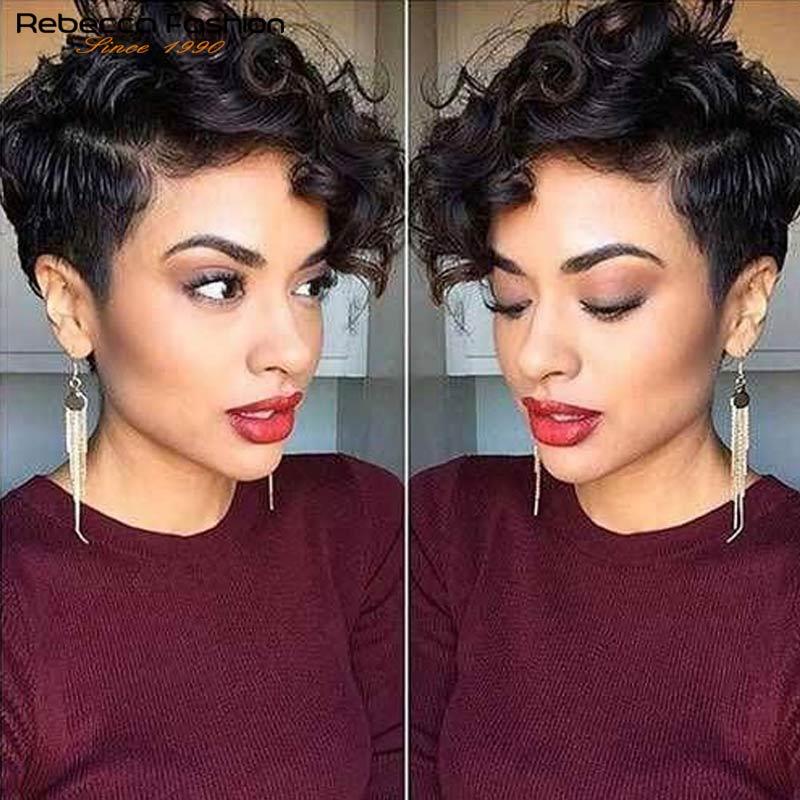 Peluca rizada de pelo corto para mujer, peluca rizada de pelo humano brasileño, Rizado corto corta y recta
