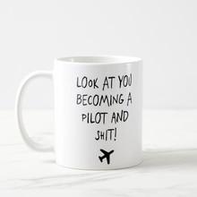 Devenir une tasse pilote, cadeau avion, tasse avion, projecteurs avion, cadeau aviateur, cadeau pilote, tasse pilote 11oz tasse à café