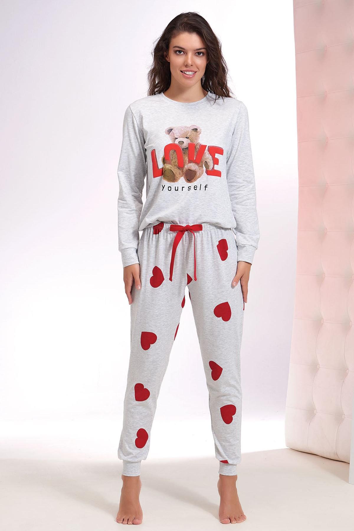 NEW SEASON ZEY Women's Red Printed Pajamas Suit