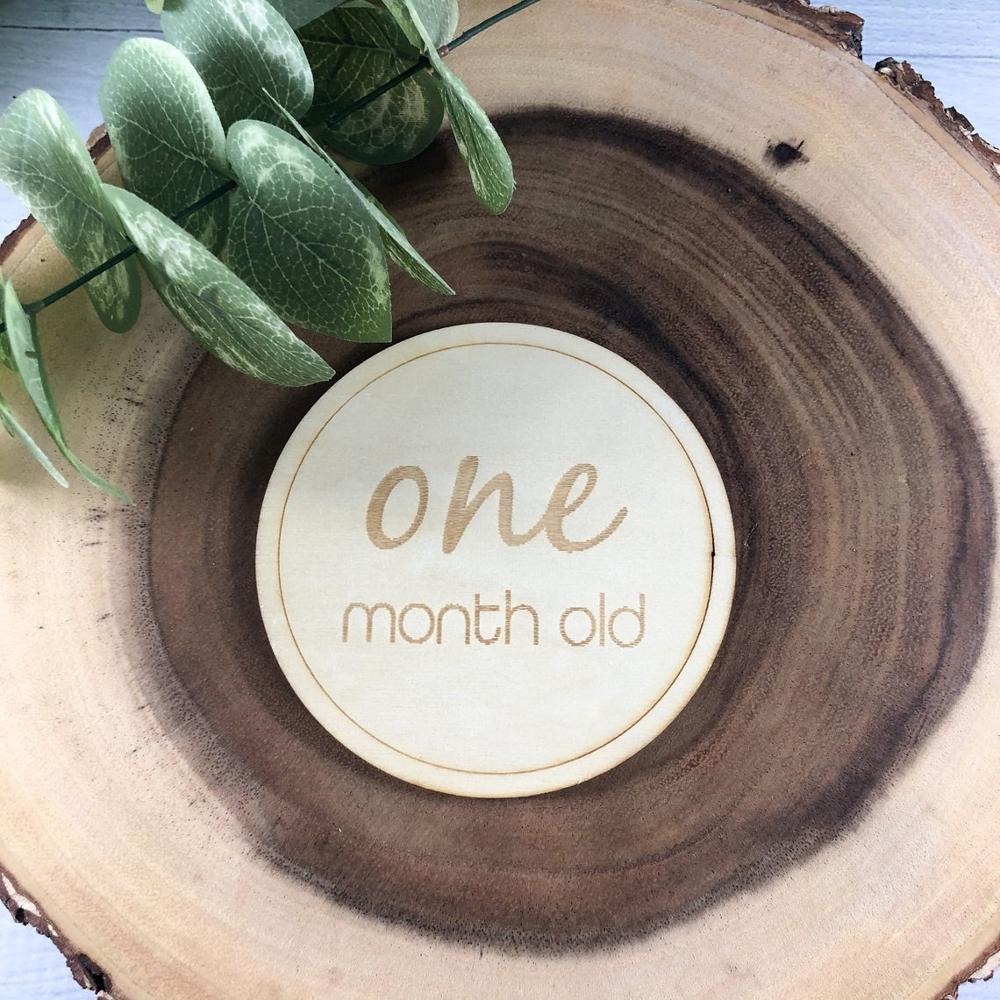 12 piezas de madera con Logo de la tarjeta del bebé, accesorios de fotografía para recién nacidos, anuncio de nacimiento, decoración de la habitación