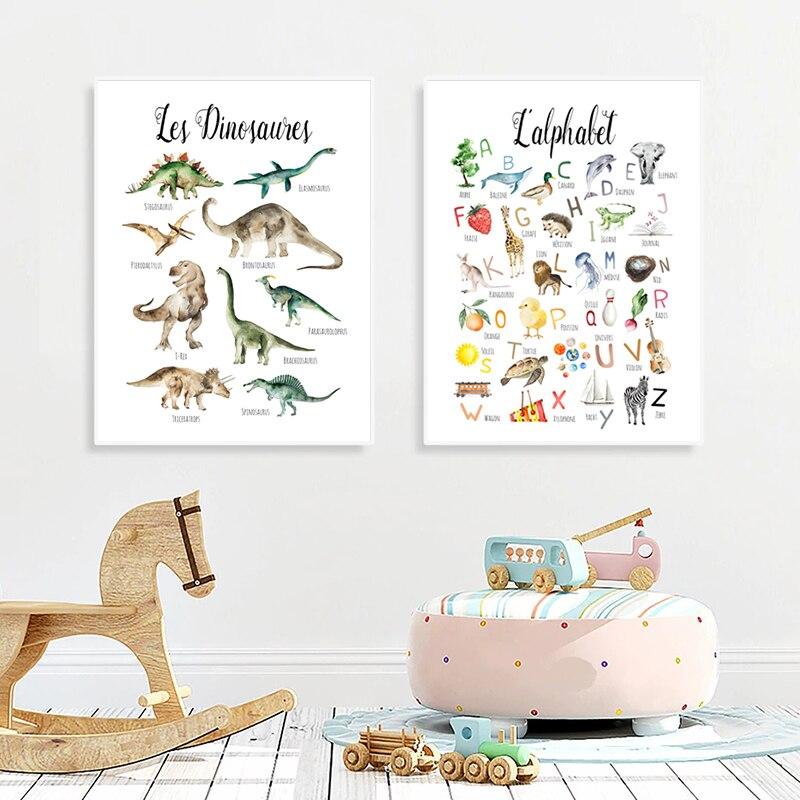 Les Dinosaures francés niños carteles educativos ABC aprender cartas de arte cuadros...