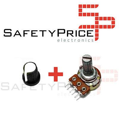 Potenciometro B50K lineal 50k + Embellecedor boton blanco  Arduino knob 16mm
