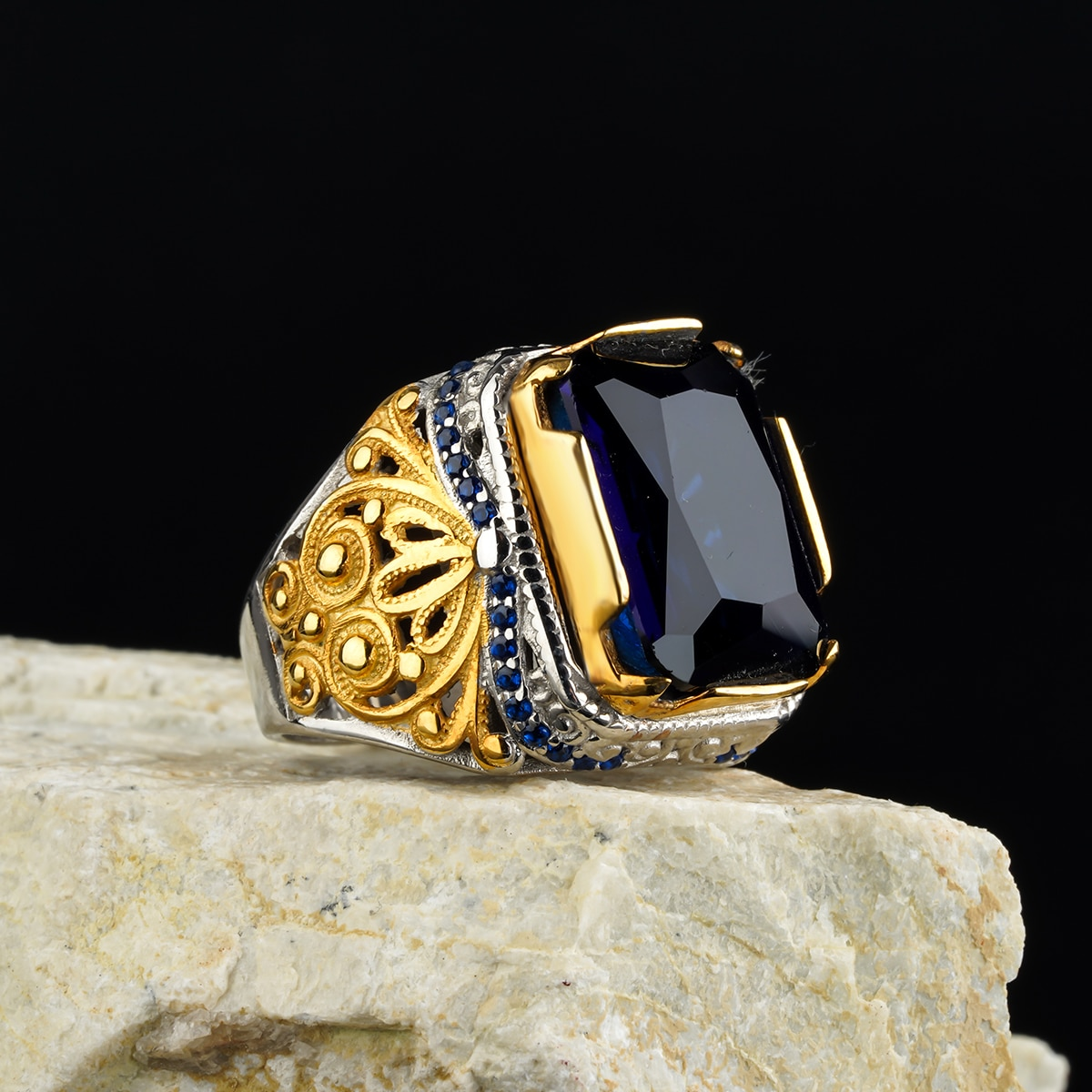 Citrine Stone Ring Custom Jewelry Guaranteed High-quality 925 Sterling Silver Onyx, Zircon in a luxurious way for men with gift