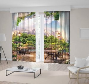 Curtain Riverside Mountains Trees Forest Colorful Flowers View from Cafe Chairs with Balcony and Tables Green Brown Purple Blue