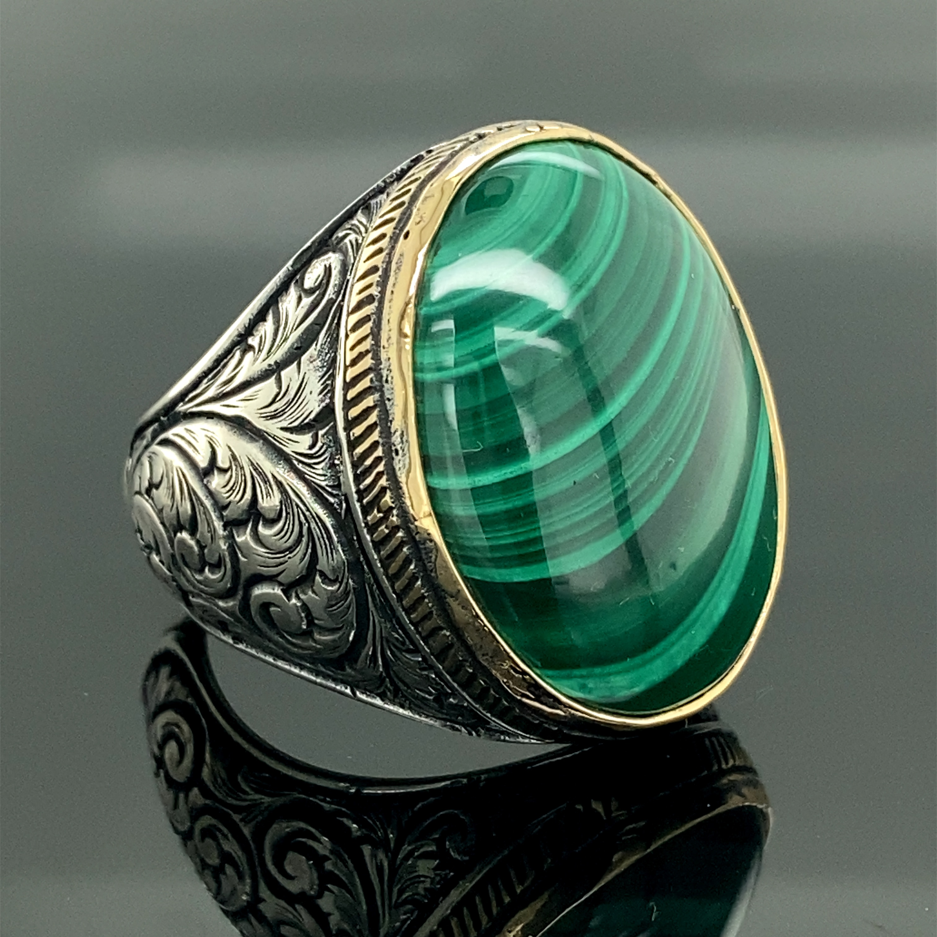 Promo Men Handmade Ring , Malachite Gemstone Ring , Oval Gemstone Ring , Embroidered Ring , Ottoman Jewelry , 925k Sterling Silver Rin