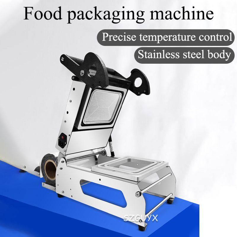 دليل البلاستيك ساندويتش صينية ماكينة سدادة حرارية علبة الوجبات الجاهزة اليد ضغط ماكينة تعبئة الطعام معدة عزل آلة