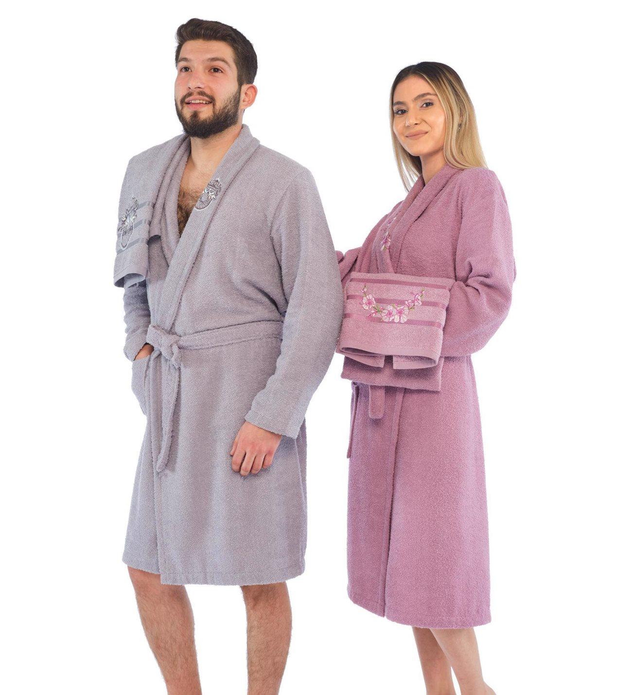 Men-Women Embroidered Bathrobe Set Cotton Extra Soft 4 Piece Bathrobe Set Made of Turkish Quality Cotton