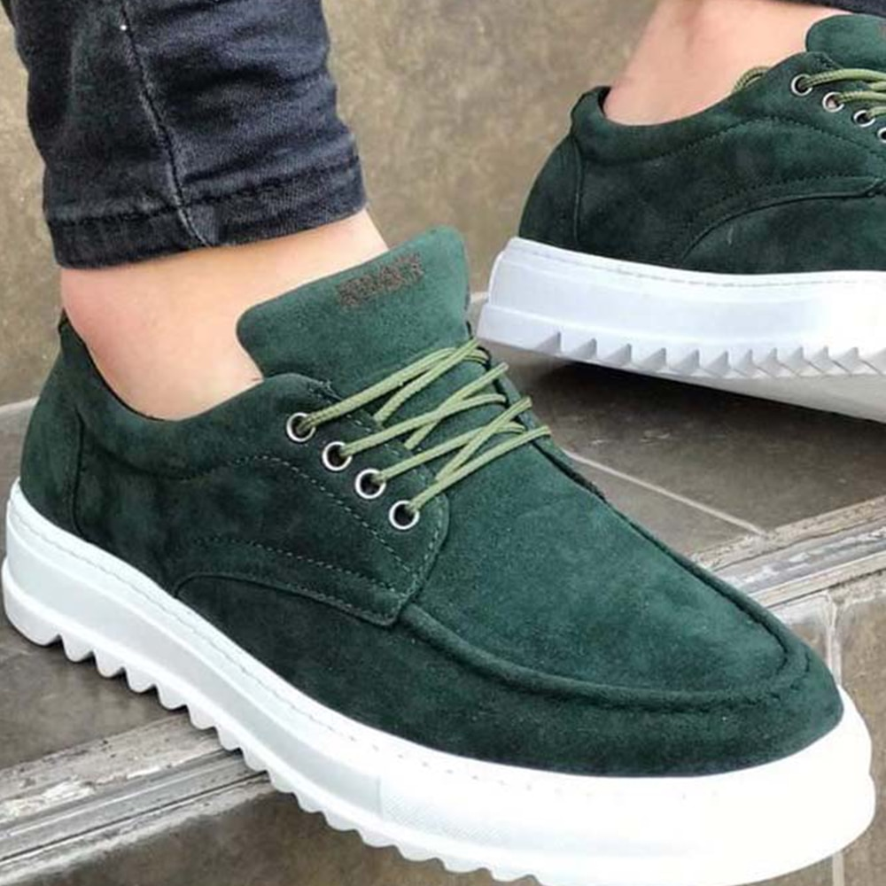 Knack Men's Shoes Suede Green Color Artificial Leather Lace Up Summer Season Daily Wear Wedding Formal Office Khaki Casual Sneakers man shoes high quality shoes for men shoes leather shoes for man luxury sneakers T12