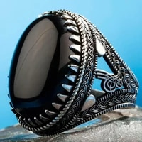 silver ottoman tughra mens ring with large onyx stone fashion turkish premium quality handmade jawelery