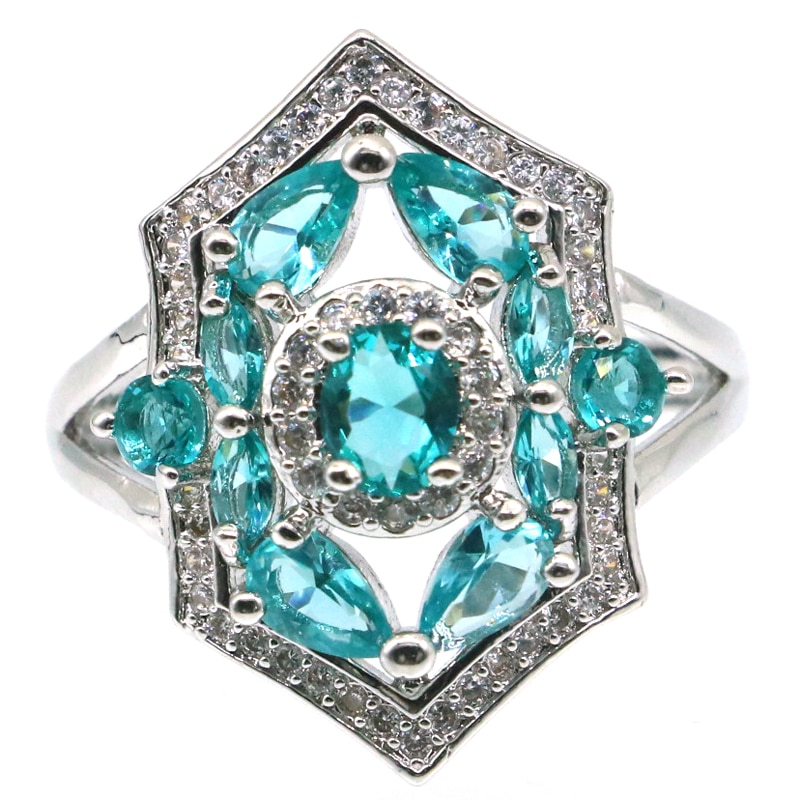 23x17mm Anniversary Created Rich Blue Aquamarine CZ Ladies Wedding Silver Rings Wholesale Drop Shipping
