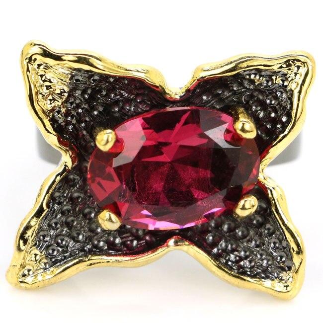 24x20mm Sublime Vintage antiguo estilo creado turmalina Rosa regalo para hombre negro anillos dorados, plateados