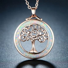 Tree of Life Necklace Opal and Rose Gold Plating By Necklace The Perfect Gift for Your Mother, Sister, Best Friend