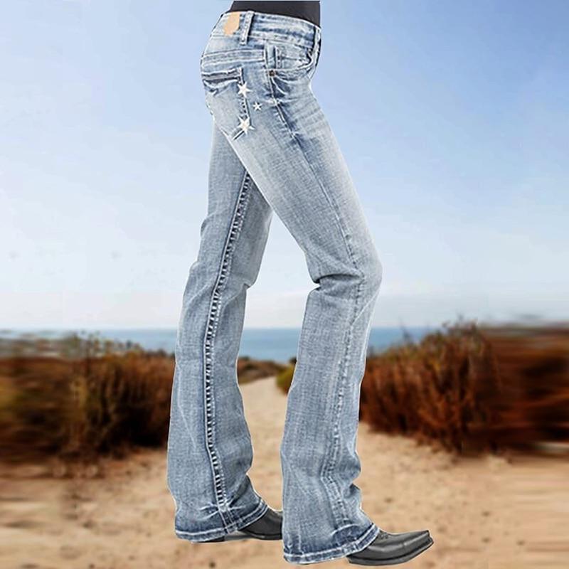 Женские джинсы, облегающие повседневные джинсы с вышивкой, женские брюки из джинсовой ткани, длинные брюки, удобные джинсовые брюки, женски...