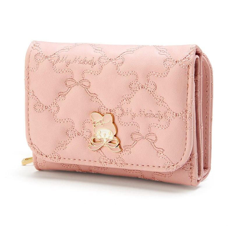 بلدي ميلودي سينامورول محفظة صغيرة قصيرة النساء الفتيات محفظة لطيف الوردي الجلود ثلاثة أضعاف محافظ السيدات حقيبة المال المرأة المحفظة