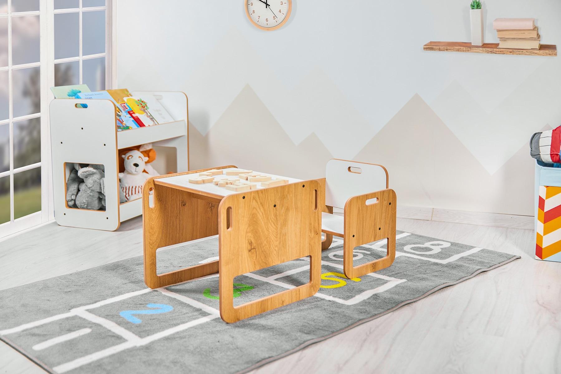 طاولة أنشطة خشبية للأطفال من سن 0 إلى 2 سنوات ، مجموعة كرسي مونتيسوري ، أثاث مكعب للبنات والأولاد
