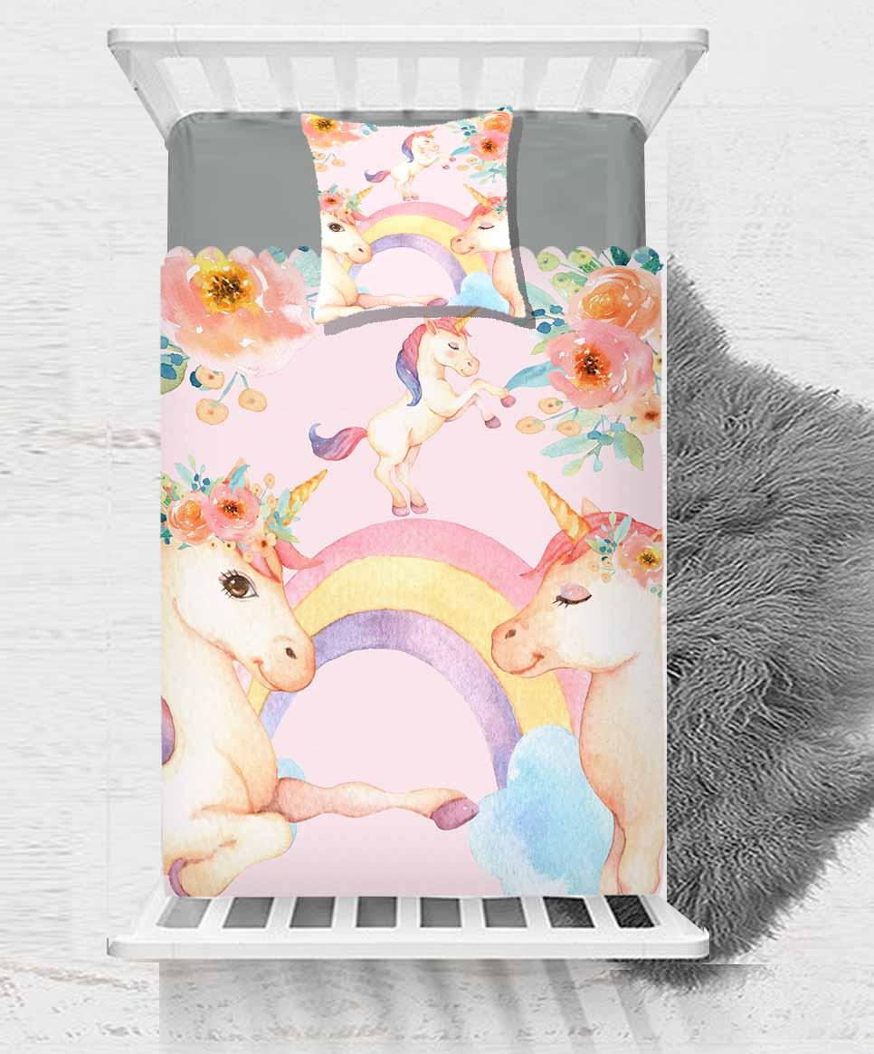 آخر الوردي يونيكورن الخيول قوس قزح الزهور 2 قطعة 3D طباعة القطن الحرير واحد المفرش السرير غطاء هدية تتحد وسادة غطاء