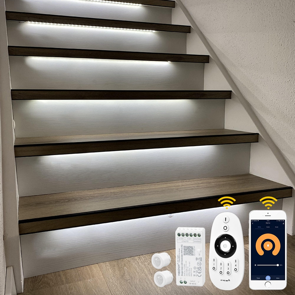 12 Steps 1.3M Stair motion sensor light strip with Tuya App WIFI LED Dimmer-Plug and Play enlarge