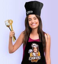 Personnalisé femmes Chef Caricature de noir cuisine tablier cuisinier chapeau Seti-15 ensemble de costumes conception personnalisée Photo cuisine salle à manger