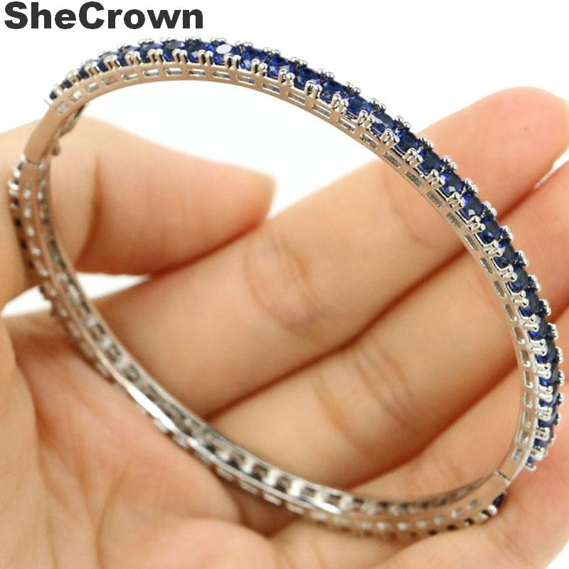 3x3mm romântico criado tanzanita shecrown 2019 mulher jóias fazendo pulseira de prata comprimento pulseira 7.5 polegada