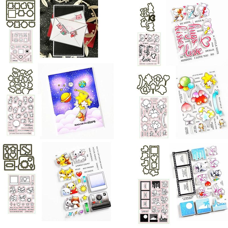Bonito conejo gatito elefante globo estrella Luna sellos y troqueles para DIY Scrapbooking manualidades de grabado en relieve plantillas para hacer tarjetas 2020