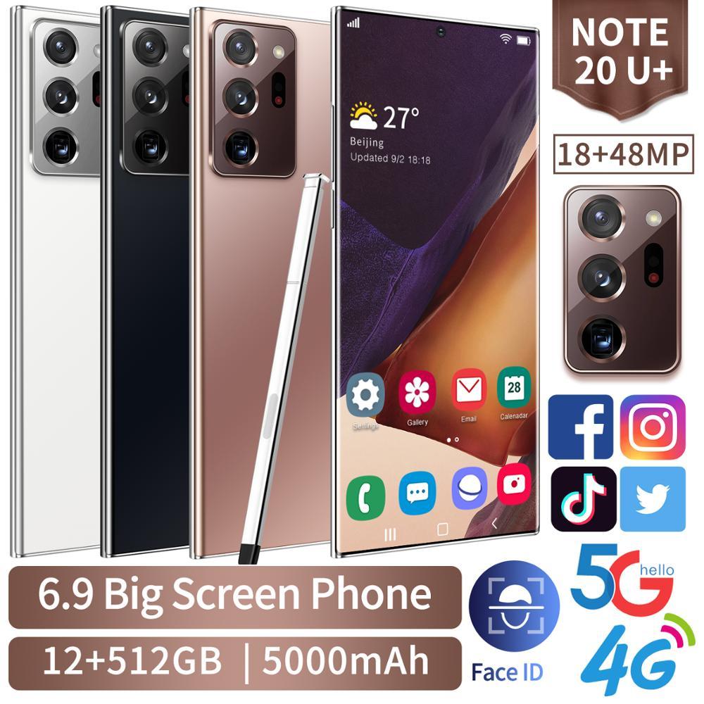 Note20U + 6.9 بوصة 3.5D كامل عرض الروبوت الهواتف الذكية 5G LET الهواتف المحمولة 12GB + 512GB MTK6889 10 النواة الهاتف المحمول مع TouchPen