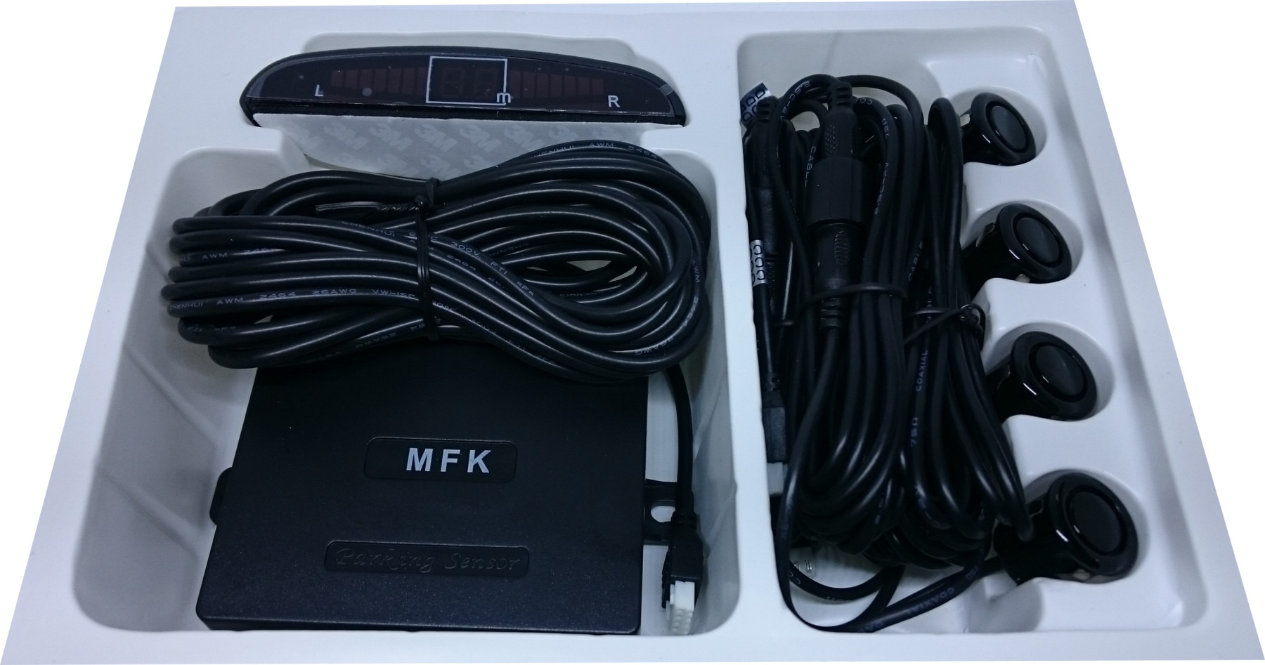Kit de pantalla de distancia, Sensor de estacionamiento, lente negra de 18mm MFK BE750