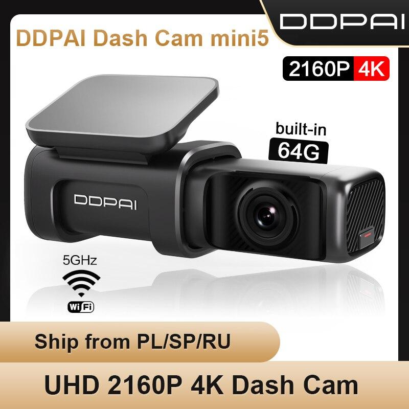 【FESTIVAL05】كاميرا سيارة DDPAI صغيرة 5 4K UHD تعمل بنظام الأندرويد 24H مع خاصية الواي فاي ونظام تحديد المواقع وكاميرا فيديو 2160P للسيارة