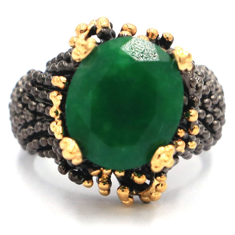 20x17mm sublime antigo estilo vintage real verde esmeralda kunzite smokey topázio presente para irmã preto ouro prata anéis