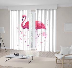 Curtain Tropical Exotic Bird Rose with Pink Flamingo Watercolor Splashes on White Background Art Printed