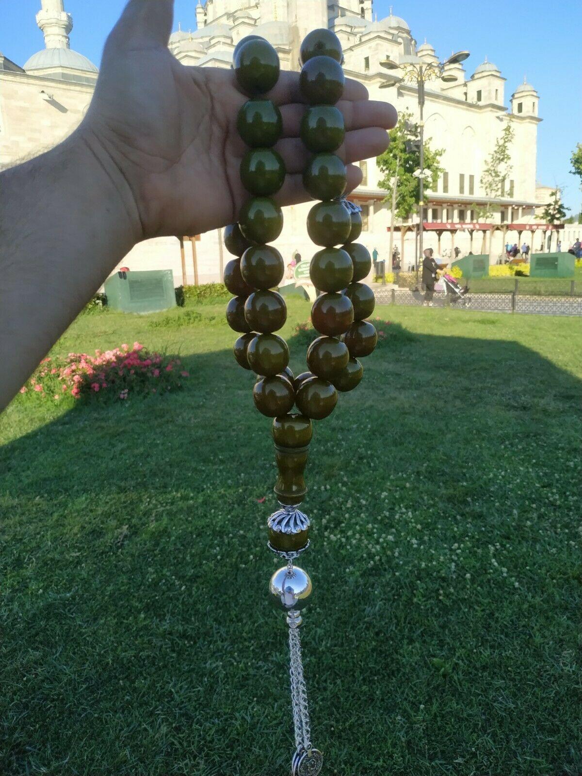 Ottoman Faturan German Amber Sandalous Misbaha Prayer Beads Islamic Gift Tasbih Tasbeeh Tasbeh Rosary Tasbih # 47A