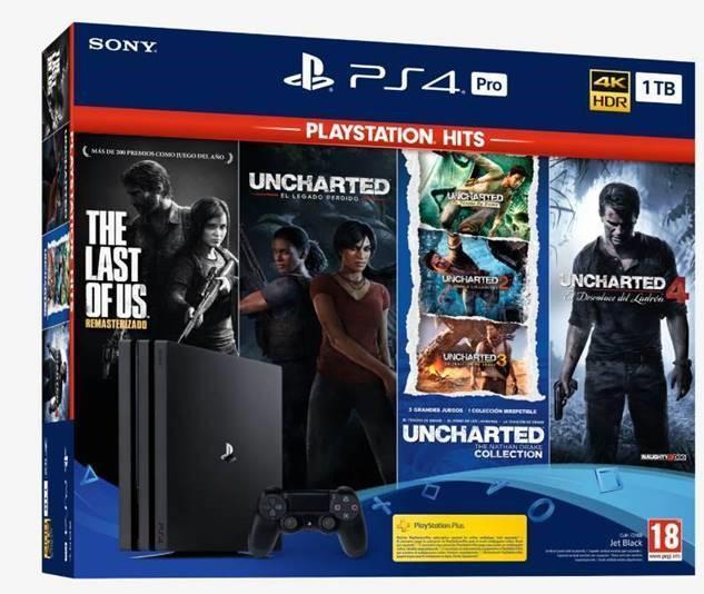 Consola Playstation 4 Pro 1Tb + 4 Juegos Hits Consolas Playstation 4 Ps4