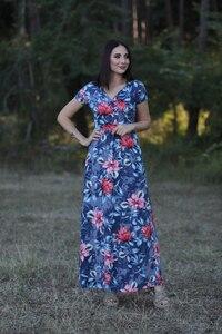 Mavi Çiçek Desen Elbise