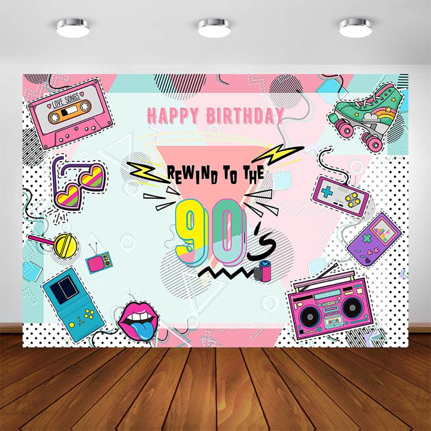 Hip Hop 90's Birthday Party Decoration Backdrop Rewind To The 90s Party Banner Photo Booth Background Photo Studio Supplies