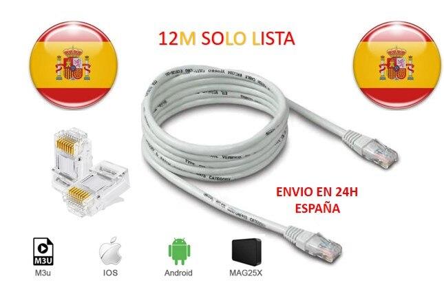 España rj45 IP lista cable 12M M3U android tv box soporte de caja iptv con m3u smart tv enigma2 PC Linux dazn