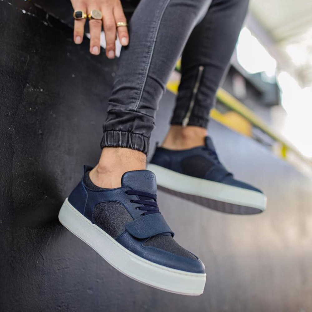 Knack Men's Casual Shoes Navy Blue Color (White Sole) Lace-up and Velcro Closure Artificial Leather Summer Season Stitched High Sole Comfortable Sports Shoes men sneakers luxury brand canvas shoes men original 999