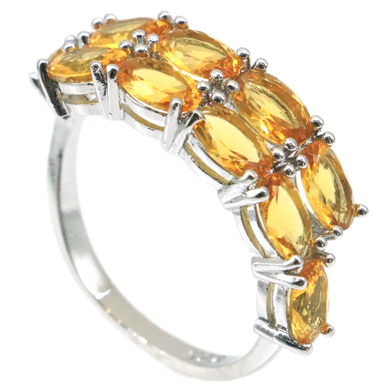 26x8mm Anniversary Created Golden Citrine For Women Daily Wear Silver Rings Wholesale Drop Shipping