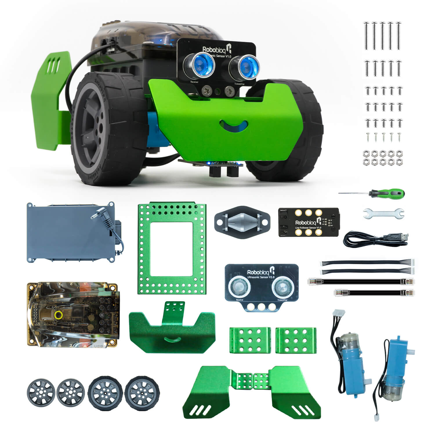 Robobloq STEM Metal Q-Scout Robot Mechanic Kit with Remote Control, Line Tracking, Ultrasonic Sensor, Music Playing for Kids Pro
