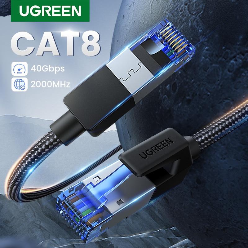 UGREEN-Cable ethernet para portátiles, accesorio de nylon trenzado CAT8 40Gbps 2000MHz CAT...