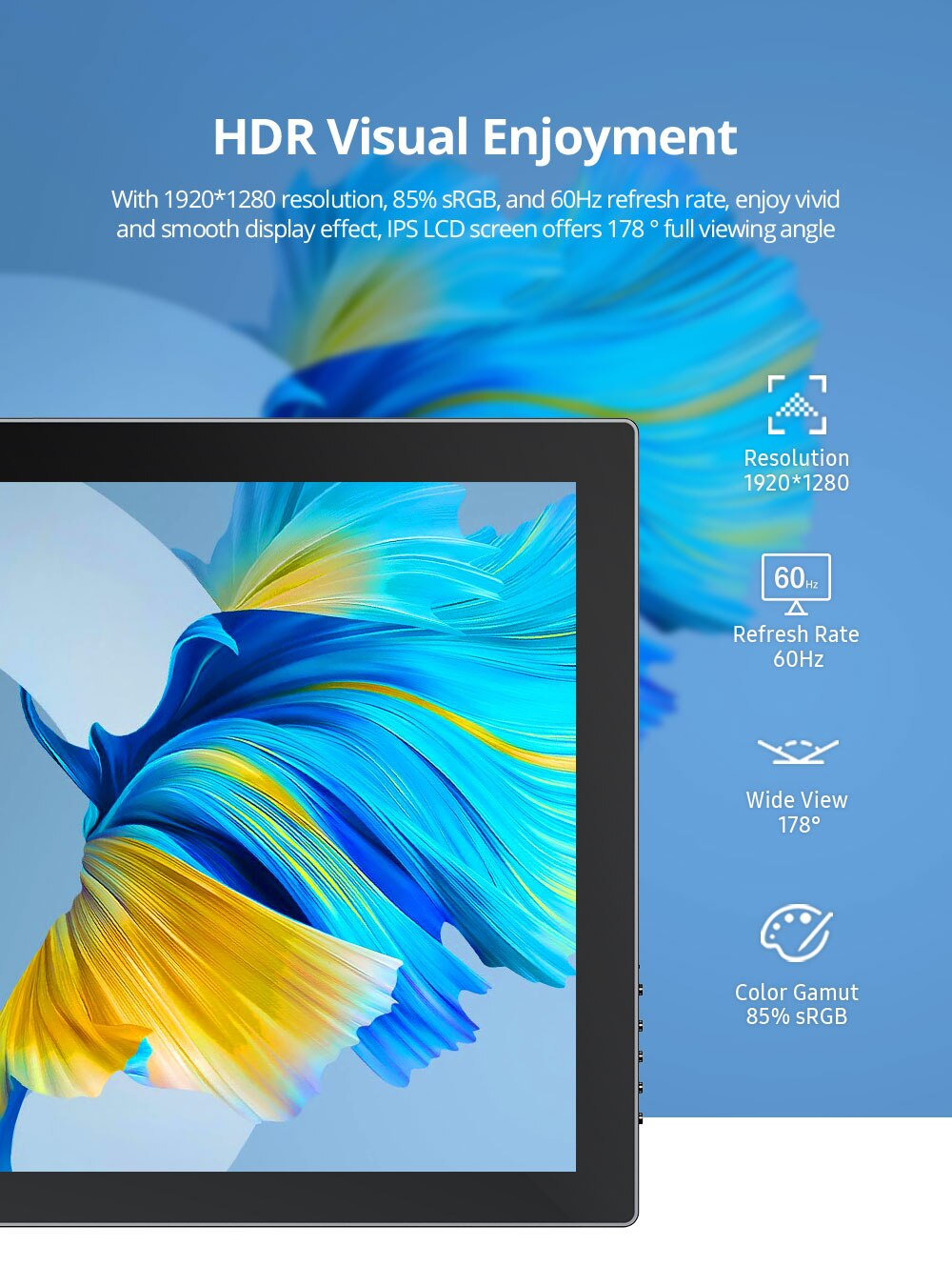 12.3 Inch TouchScreen Monitor Full HD 1080P Portable Monitor, MiniHD and USB Type-C 1000: 1 ContrastFor Samsung DEX Huawei