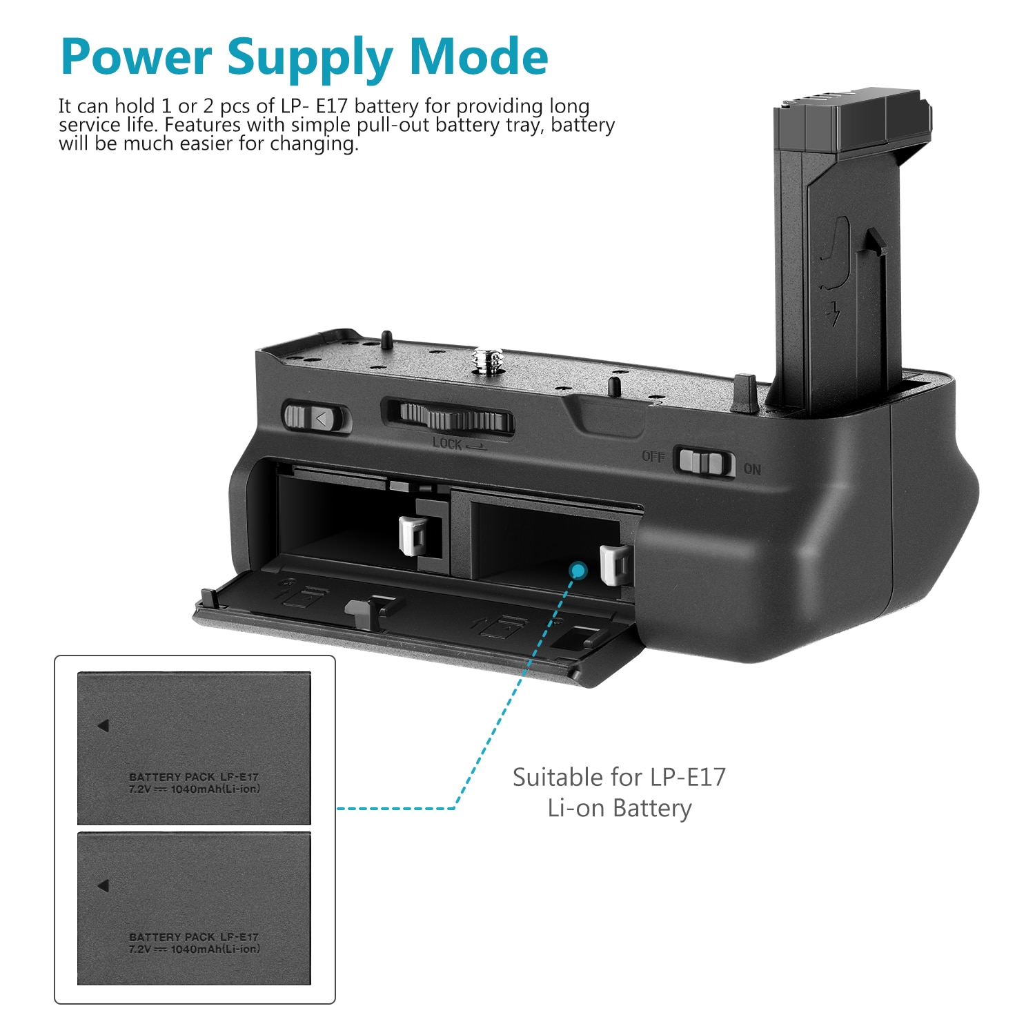 Neewer Vertical Battery Grip For Canon EOS RP DSLR Camera, 2 Packs 1250mAh Canon LP-E17 Replacement Rechargeable Li-ion Battery enlarge