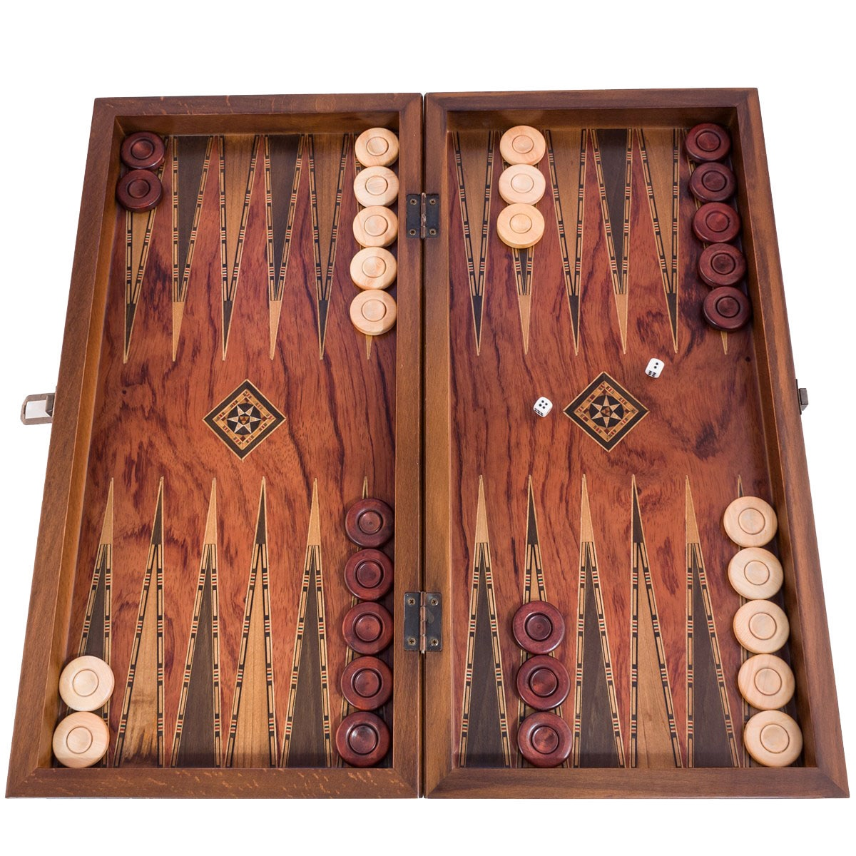 Backgammon Board Game Set Luxury Classic Big Size - Solid Rose Wood Mosaic Engraved - With Boxwood Stamps Checkers Chessboard