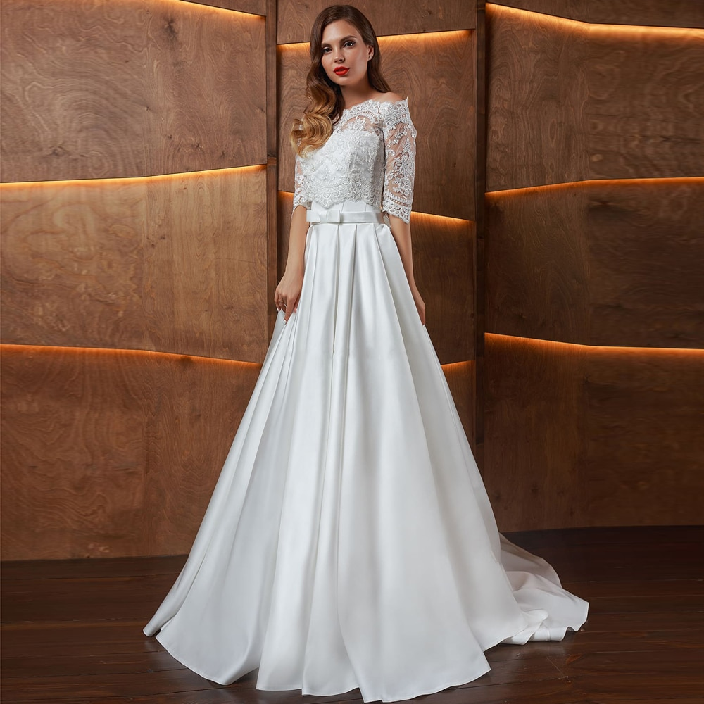 strapless-satin-wedding-dress-with-detachable-lace-jacket-half-sleeves-photoshoot-princess-bow-vintage-customize-bridal-gowns